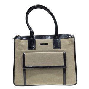 Gucci beige canvas black patent trim tote bag